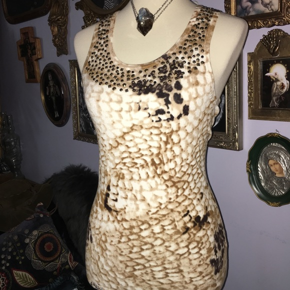 Cache Tops - Cache Snake Print Sequin Bead Knit Tank Top XS